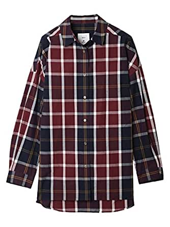 (イネド)INED ドロップショルダーチェックシャツ ボルドー 09