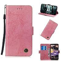 Nokia 7 Plus シェル,バックシェル Protection プレミアム PU レザー 財布 シェル Protection 〜と キックスタンド クレジット カード スロット 現金 ホルダー フリップ カバー の Nokia 7 Plus Pink