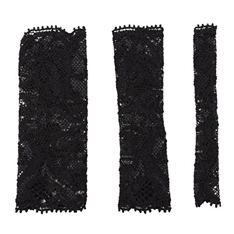 はさみ盟主豆BCL500BK 六角館さくら堂 ブラッシュキャップ3枚セット ブラック パウダーブラシ チークブラシ アイシャドーブラシ各1枚 ほこりや汚れからブラシから守る 化粧筆カバー ブラシキャップ ブラシカバー レース 特許申請済レース