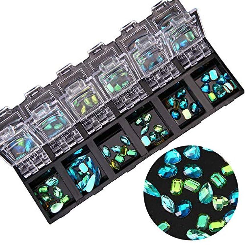 日電話をかける後方に1ボックスクリアフラットバックネイルアートホログラフィックラインストーンジュエリーabクリスタルダイヤモンドジェルのヒントデコレーションケース