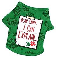 Goenn Santa,I Can Explain かわいいクリスマスペット犬服祭りパーティーTシャツパピーコスチューム (M)