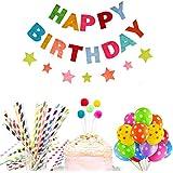 誕生日 飾り付け カラフル 子供 女の子 男の子 happy birthday バナー ガーランド スター ケーキトッパー バルーン 風船 ストロー 38枚セット