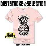 DUSTSTROKE ( ダストストローク )( 選べる 3 カラー ) パイナップル 柄 アロハ トロピカル S M L メンズ 半袖 Tシャツ おしゃれ ストリート カジュアル きれいめ ダンス 丸首 (ピンク M)