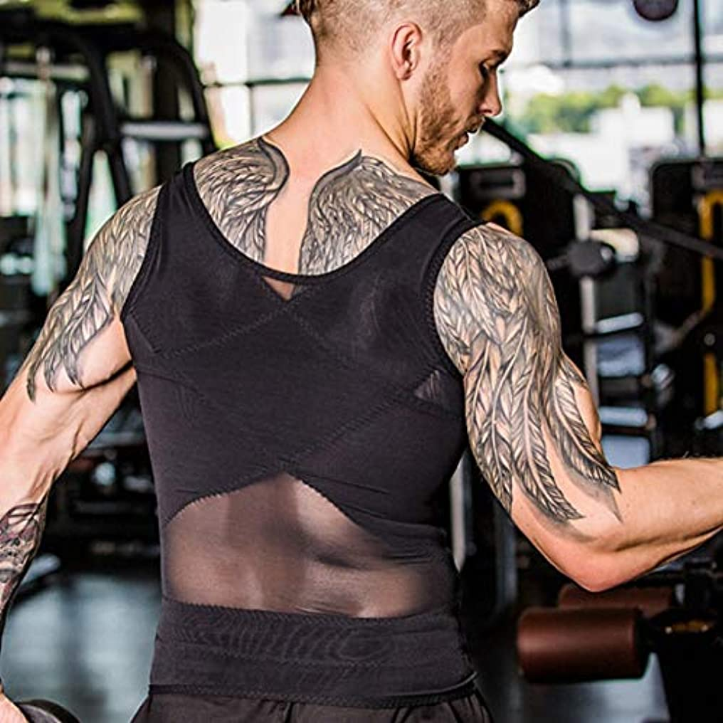 推定するテスピアン抵抗力があるボディ型ノースリーブベストボディシェイパーチューニング腹ウエストトレーナーコルセットトップス快適な下着服シェイプウェア(黒)