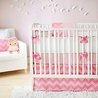 新着ジグザグベビー4ピースベビー寝具セット、ピンク