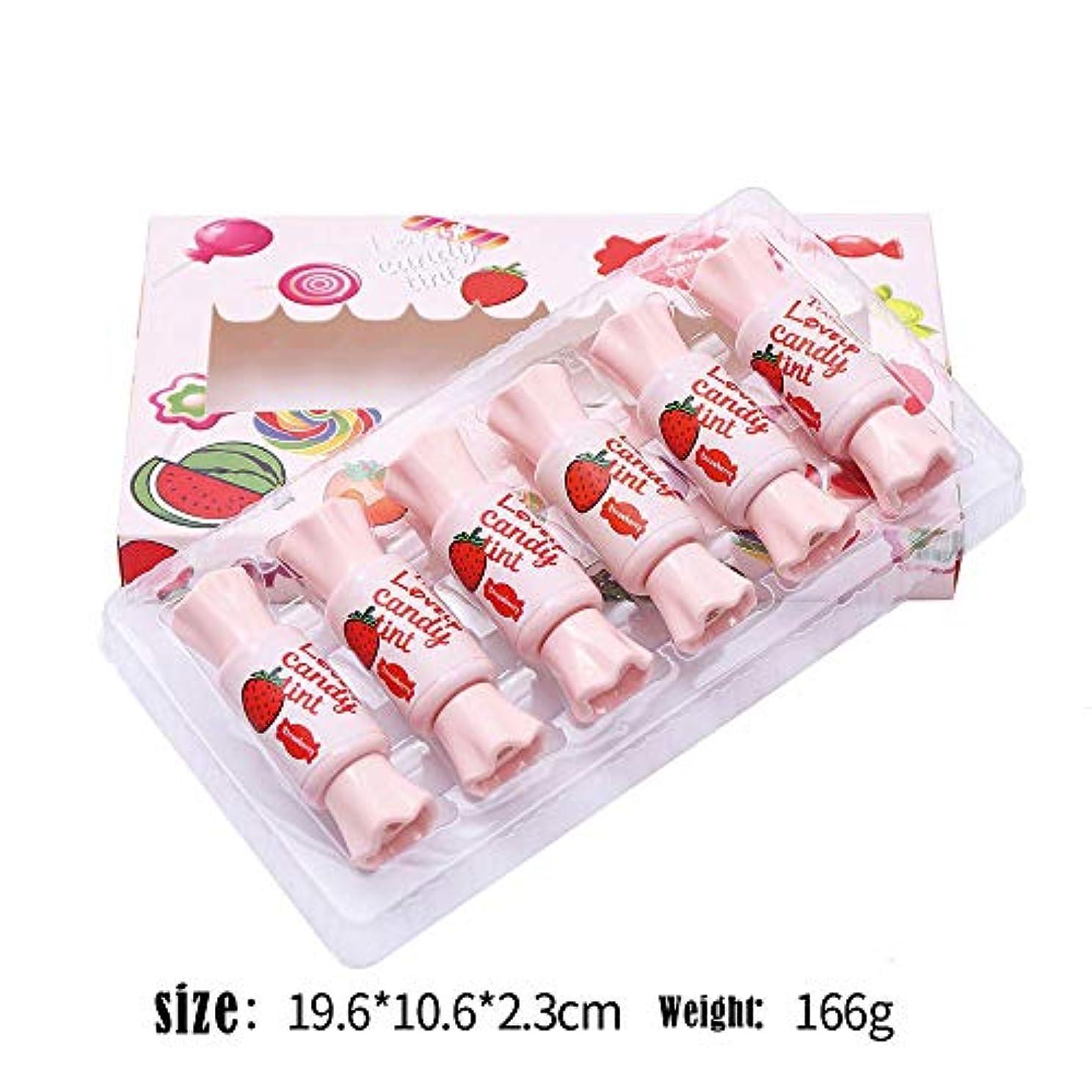 キャンディーセットボックスフルーツリップグレーズ耐久性のある防水ノンマーキングノンスティックカップリップカラー染料リップ液体水口紅6