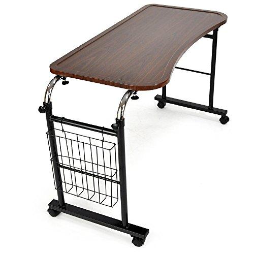 ベッドテーブル 伸縮式テーブル サイドテーブル 昇降式 キャスター付き 「 ガルボ 」 (マガジンラック付き 木製天板 )