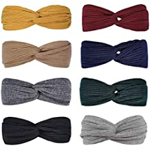 8 Pcs Solid Color Headbands for Women Wide Head Wraps Knotted Elastic for Girls Criss Cross Turban Plain Headwrap Yoga Workout Vintage Hair Accessories, 8 Color
