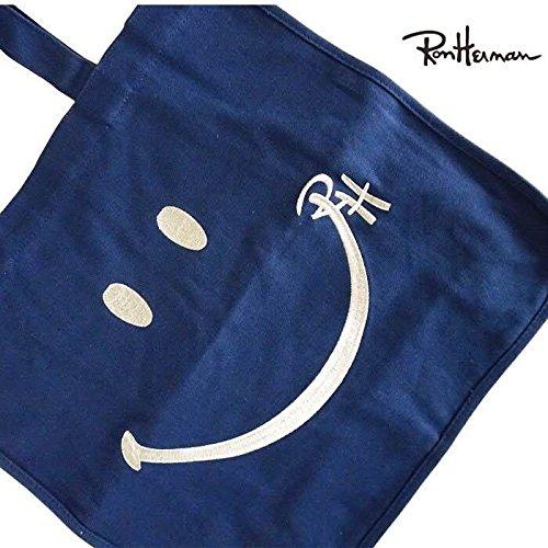 ロンハーマン Ron Herman トートバック スマイル キャンバス 人気刺繍ロゴ入り セレブ ユニ 男女兼用 Exclusive RHC Tote Bag(正規品取扱店舗)ネイビー [並行輸入品]