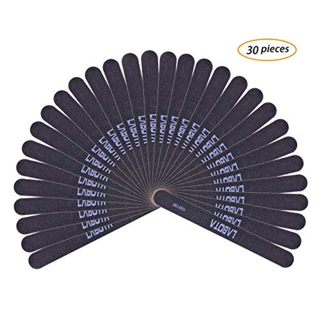 リネン筋肉のマーベルLABOTA 30セットネイルソフトファイル 爪やすり ブラック爪磨き ネイルケアやすり 両面グリットのネイルファイルエメリーボード(100/180)ウォッシャブルツメヤスリ