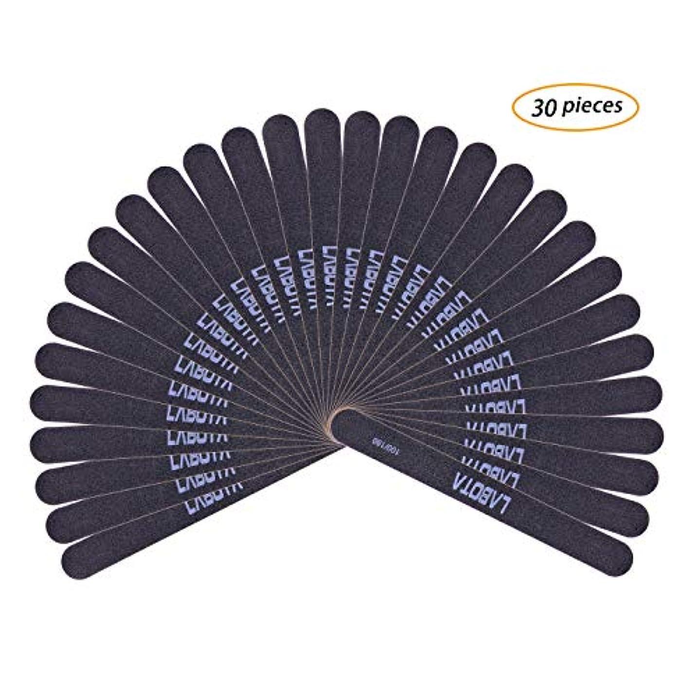 ゾーン先生価格LABOTA 30セットネイルソフトファイル 爪やすり ブラック爪磨き ネイルケアやすり 両面グリットのネイルファイルエメリーボード(100/180)ウォッシャブルツメヤスリ