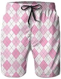 ピンクのチェック メンズ サーフパンツ 水陸両用 水着 海パン ビーチパンツ 短パン ショーツ ショートパンツ 大きいサイズ ハワイ風 アロハ 大人気 おしゃれ 通気 速乾