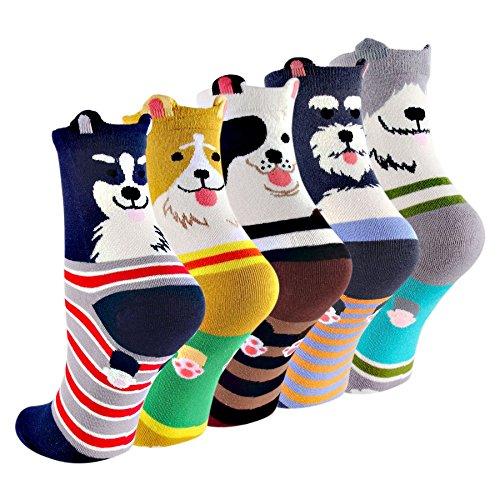 (コナミヤ) Konamiya レディースかわいい靴下 動物柄ソックス カラフルファッション靴下セット- 5匹の犬
