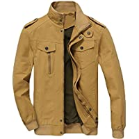 MAGE MALE Men's Cotton Military Jacket Bomber Windbreaker Stand Collar Zip Coat