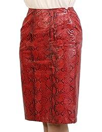 タイトスカート レディース 豚革 レザー パイソンプリント ヘビ柄