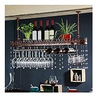 ワイングラスホルダーワインラックシンプルアイアンハンギングゴブレットステムウェア天井装飾棚バーレストランキッチン壁逆さ棚 (Color : A)