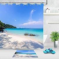 HiYash 海の日当たりの良いビーチ風景シャワーカーテンセット12フック付き3D印刷防水コーティングポリエステルファブリックバスルーム71インチインテリアフロアマットバスルームカーペット60x40cm