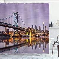 Amxxy アパート装飾シリーズベンフランクリン橋とフィラデルフィアのスカイラインの水のイメージ日没時のバスルームシャワーカーテンを反映耐久性のある掃除が簡単な防水生地