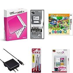 New ニンテンドー3DS LL ピンク×ホワイト + とびだせ どうぶつの森 amiibo+ (「『とびだせ どうぶつの森 amiibo+』 amiiboカード」1枚 同梱) - 3DS + New 3DS LL用アクセサリ6種 セット