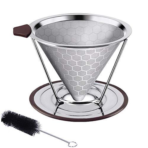 W-ingstar コーヒーフィルター コーヒードリッパー ステンレス製 ペーパーレス 2層メッシュ 蜂窩状 洗浄用ブラシ付き「2~4杯用」