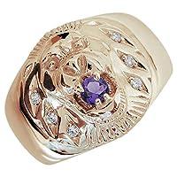 プレジュール ライオンリング アメジスト メンズ K18ピンクゴールド 指輪 アニマルリング リングサイズ21号