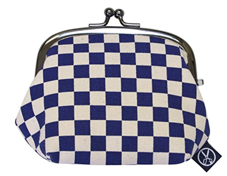 五色帆布堂 藍色シリーズ マチ付 ガマ口 3.5寸 藍市松 110236