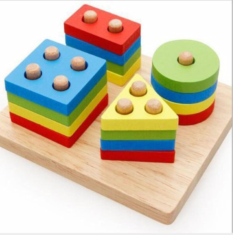 urbeauty 1set木製教育Preschool形状色認識幾何ボードブロックスタックソート分厚いパズル玩具クリスマスギフトおもちゃKid子供赤ちゃん幼児用男の子女の子