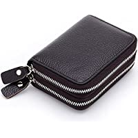 Zando Women's Accordion Style Credit Card Case Holder Genuine Leather Wallet