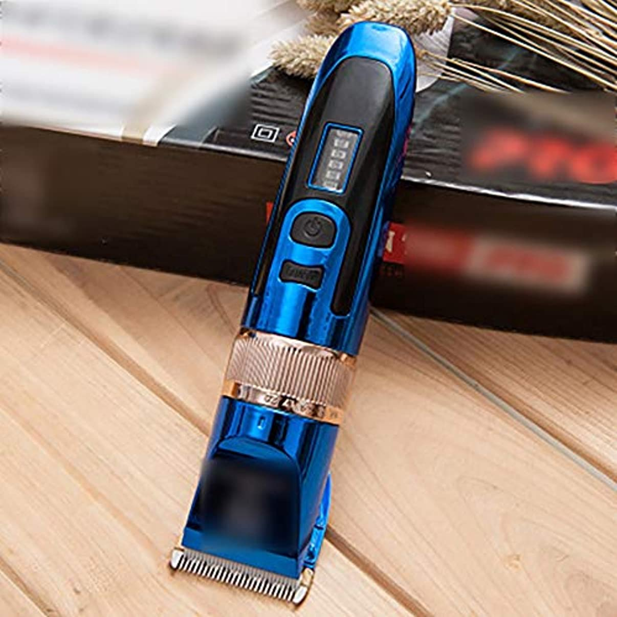 テスピアンボア吸収WAKABAFK プロの電気フェーダーリチウム電池液晶ディスプレイ散髪機ヘアトリマークリッパー (色 : 青)