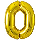 YOU+ バルーン 数字 ナンバーバルーン 80cm/90cm ゴールド/シルバー (ナンバー0, ゴールド) 風船 数字パーティー 誕生日 結婚式 飾り物 アルミ
