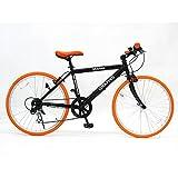 GRAPHIS(グラフィス) GR-001J クロスバイク 24インチ 6段変速 可動式ステム ブラック/オレンジ