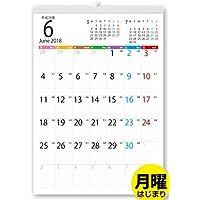 ボーナス付 2018年6月~(2019年6月付) 月曜はじまり タテ長ファミリー壁掛けカレンダー(六曜入) A3サイズ[H]