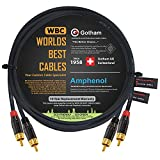 2 Foot RCA Cable Pair - Gotham GAC-4/1 (Black) Star-Quad Audio Interconnect Cable with Amphenol ACPL Black Chrome Body, Gold Plated RCA Connectors - Directional