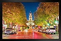 壁掛け 絵画 - ヨーロッパとアメリカ - 夜に照らされるフォートワーステキサスタラント郡裁判所 - 33x23cm(額縁を送る)