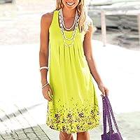 Onderroa - ノースリーブ花柄を印刷ルースドレスファッション六色カジュアルの女性のドレスローブファムエテ2018セクシーなドレスプラスサイズ[XXXLイエロー]
