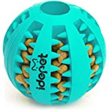 Idepet Dog Toy Ball, Nontoxic Bite Resistant Toy Ball for Pet Dogs Puppy Cat, Dog Food Treat Feeder Tooth Cleaning Ball,Dog P