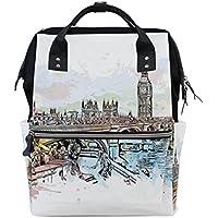 ママバッグ マザーズバッグ リュックサック ハンドバッグ 旅行用 ロンドンの水彩画 プリント ファション