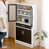 【完成品・組立不要】 コンパクト 食器棚 キッチン収納 台所 収納 調味料入れ ストッカー 棚 ミドルタイプ