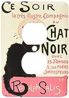 3drose LLC lsp _ 149187_ 6Vintage Art Nouveau Ce SoirチャットNoir Frenchポスター2プラグコンセントカバー