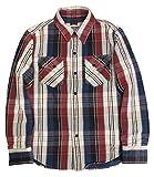(デラックスウェア)DELUXEWARE ワークシャツ 長袖 BULL TRICO トリコロールチェック ヘビーネル ウエスタン ショートレングスモデル ウォッシュド HVS-29 L トリコロールチェック
