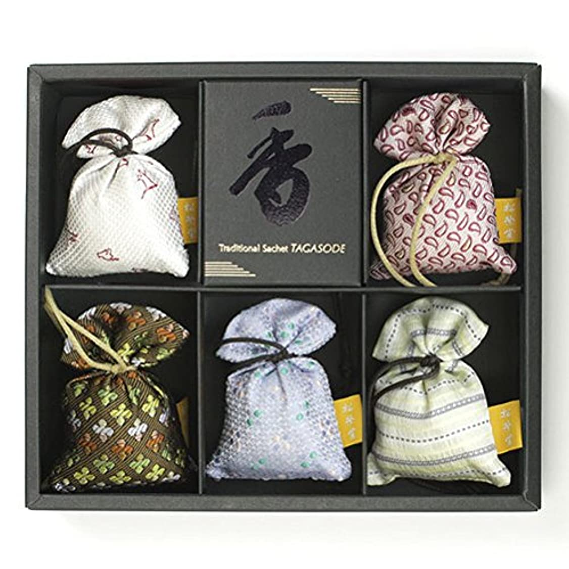 駐地早めるお香匂い袋 誰が袖 薫 かおる 5個入 松栄堂 Shoyeido 本体長さ60mm