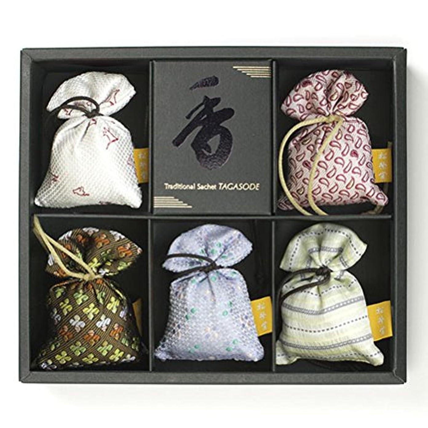 広く経済的子音匂い袋 誰が袖 薫 かおる 5個入 松栄堂 Shoyeido 本体長さ60mm