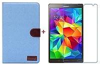 【RIRIYA】サムスン Samsung Galaxy Tab S 8.4専用 ジーンズケース スタンド機能付き デニム生地カバー 3色「521-0033」 (ケース+透明液晶保護フィルムセット ライトブルー)