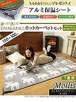 ホットカーペット・カバー 〔モリス〕 1畳用(190x100cm)+ホットカーペット本体セット