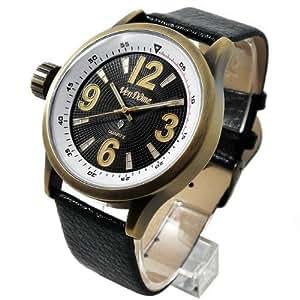 天然ダイヤクラシックデイト 腕時計 アンティークゴールド×ブラック クォーツ式 本牛革ベルト 金×黒 【並行輸入品】 [時計]