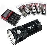 ThruNite TN36 LED フラッシュライト Max 7300 ルーメン 18650充電池×4本使用  4段階明るさ切替機能+Turboモード+Strobeモード(電池別売り) (TN36 UT CW+MCC-4S+T3400*4)