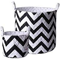 Minene Storage Set (Large/Small, Black and White Chevron) by Minene