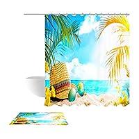 シャワーカーテン、バスルーム防水カーテン3Dビーチベルトフックとカーペットマット (色 : B, サイズ さいず : 180 * 200cm)