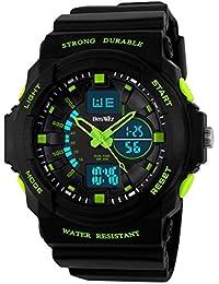 BesWlz多機能デジタルLEDクォーツ腕時計防水電子スポーツの男の子の女の子の腕時計子供の子供の贈り物 (緑)