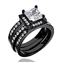 女性の結婚指輪婚約リングセットブラックステンレススチールHaloプリンセスCZ